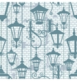 Old town seamless texture with wrought lanterns vector image