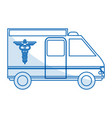 blue silhouette shading ambulance truck with vector image