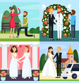 wedding people orthogonal icon set vector image