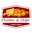 Chicken and chips vector image
