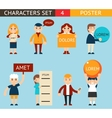 Business Male and Female Characters with Billboard vector image