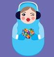 Cute russian matryoshka doll holding heart vector image