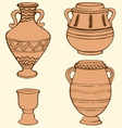 ancient vases with geometric ornament vector image