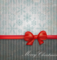 background with snowflakes and red bow vector image