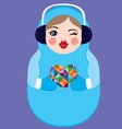 Cute russian matryoshka doll holding heart vector image