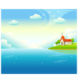 Idyllic church landscape background vector image