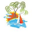 tropical island and sailboat vector image