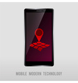 mobile device with geo mark vector image vector image