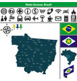 map of mato grosso brazil vector image vector image