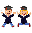 Happy graduates cartoon vector image