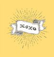 xoxo xoxo text on vintage hand drawn ribbon vector image