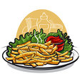 fries with ketchup vector image vector image