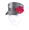 leather cap with rose vector image vector image