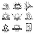 Bowling labels and icons set vector image