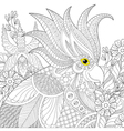 Exotic zentangle cockatoo parrot for adult anti vector image