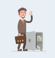 happy smiling rich office worker businessman vector image