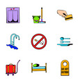 hostel icons set cartoon style vector image