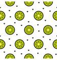 kiwi fruit slices seamless green pattern on white vector image