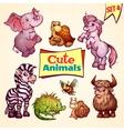 set of cute animals Elephant snail vector image