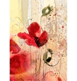 Watercolor of poppies vector image