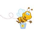 Cartoon Character Bee Flying Bucket vector image