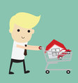 Shopping for a Home A man walking with a new house vector image
