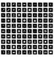 100 photo icons set grunge style vector image
