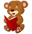 Cute bear cartoon reading vector image vector image