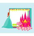 Beautiful young princess in front of her castle - vector image