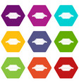 banner or label icon set color hexahedron vector image