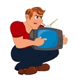Cartoon man holding old TV vector image