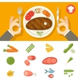 Hands cutlery Plate Food Icon Set Restaurant vector image