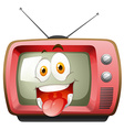 Happy face expression on tv vector image