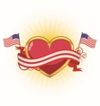 heart with ribbons for july 4th vector image