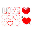 hearts set vector image