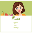 Smiling woman with fruit presenting menu vector image