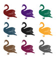 swan icon in black style isolated on white vector image