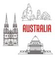 Australian travel landmarks linear icon vector image vector image