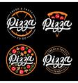 Set of pizza hand written lettering logo label vector image