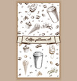 hand drawn hot coffee patterns vector image