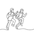 kids running to school with bags vector image