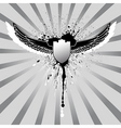 grunge wings and shield vector image vector image