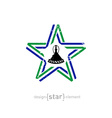 star with Lesotho flag colors symbol and grunge vector image