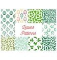 Leaves seamless pattern set for nature design vector image