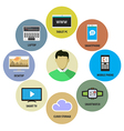 Man and modern devices and technologies vector image