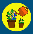 money tree care isolated on blue watering money vector image