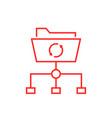 data synchronization with thin line folder vector image