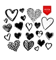 Collection of black grunge Valentine hearts vector image