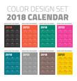 color pocket calendar set 2018 vector image