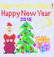 Greeting card Merry Christmas Happy New Year vector image